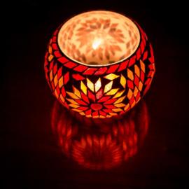 Waxinehouder Turks mozaïek rood en oranje XL. - 15 cm.