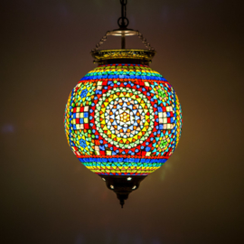 Oosterse hanglamp | diverse kleuren mozaïek | 25 cm.
