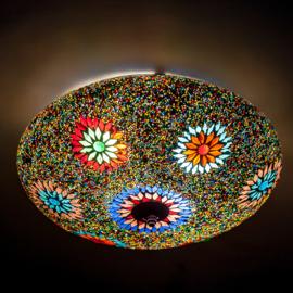 Plafondlamp mozaïek en glaskralen - 38 cm. - multi color