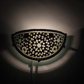 Oosterse mozaïek wandlamp| uplight | zwartwit