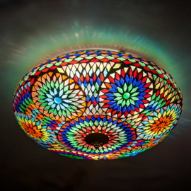 Plafondlamp mozaïek multi color - 38 cm. - Turks design