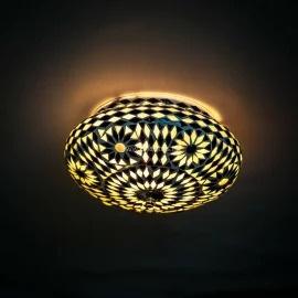 Plafondlamp mozaïek zwart-wit . Turks design - 25 cm.