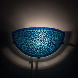 Oosterse mozaïek wandlamp halve maan - blauw