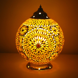 Mozaïek tafellamp 25 cm. bruin beige -  Turks