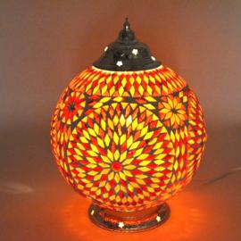 Mozaïek tafellamp 25 cm. - rood en oranje - Turks