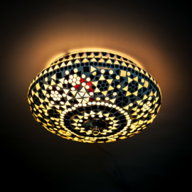 Plafondlamp mozaïek zwart-wit - 25 cm.
