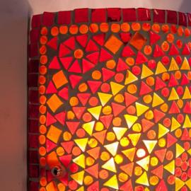 Oosterse mozaïek wandlamp cilinder - rood en oranje