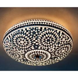 Plafondlamp mozaïek zwart wit - 50 cm.