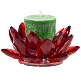 Theelichthouder lotus kristal rood