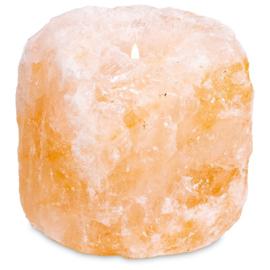 Waxinehouder ruw zoutkristal natuurlijke vorm.