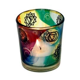 Waxinehouder glas met de 7 chakra's.