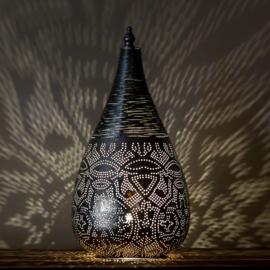 Oosterse filigrain tafellamp met draad - zilver
