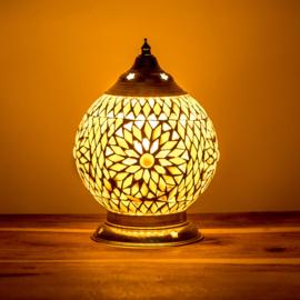 Mozaïek tafellamp bruin-beige - 15 cm.
