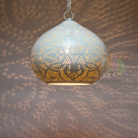 Oosterse filigrain hanglamp Morada wit-goud