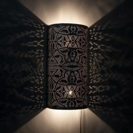 Oosterse wandlamp filigrain - zilver