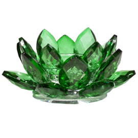Theelichthouder lotus kristal groen.