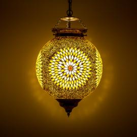 Hanglamp bruin-beige mozaïek en kralen - Turks design - 25 cm.
