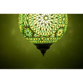 Hanglamp groen mozaïek - Turks design - 25 cm.