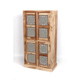 Oosterse kast 4 deuren - multi color mozaïek panelen.