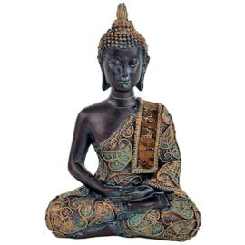 Mediterende Boeddha met vintage antiek finish.