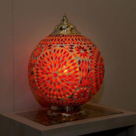 Mozaïek tafellamp 25 cm. - rood en oranje