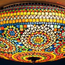 Plafondlamp mozaïek multi color - 50 cm.