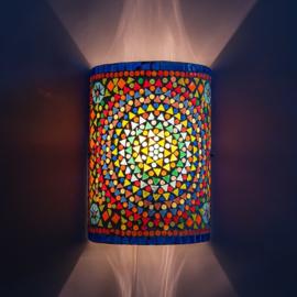 Oosterse mozaïek wandlamp cilinder - multi color