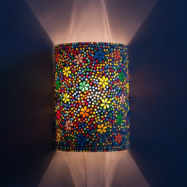 Oosterse mozaïek wandlamp cilinder - multi color flower