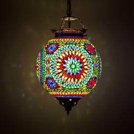 Hanglamp multi color mozaïek - Turks design - 25 cm.