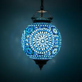 Hanglamp blauw mozaïek - Turks design - 25 cm.