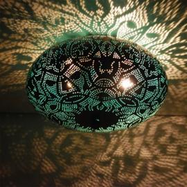 Plafondlamp filigrain patina blauw - 25 cm.
