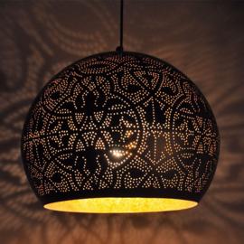 Oosterse hanglamp open onderkant - zwart/goud