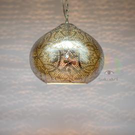 Oosterse filigrain hanglamp Morada vintage zilver.