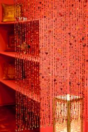 Vliegengordijn glaskralen rood - oranje