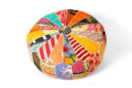 Poef kleurrijk patchwork 100% katoen