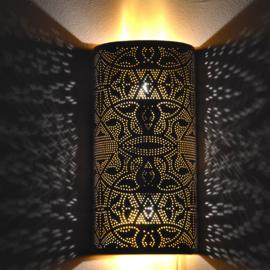 Oosterse filigrain wandlamp | cilinder | wit