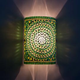 Oosterse mozaïek wandlamp cilinder - groen