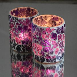 Waxinehouder cilinder paars craquelé glas.( set prijs )