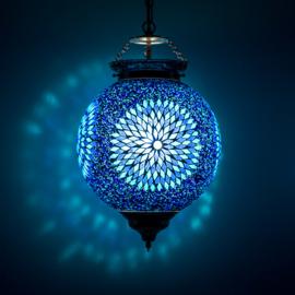 Oosterse hanglamp  blauw mozaïek- glaskralen.