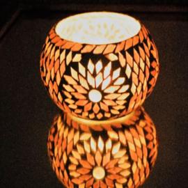 Waxinehouder Turks mozaïek paars XL. - 15 cm.