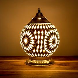 Mozaïek tafellamp 15 cm. -zwart wit