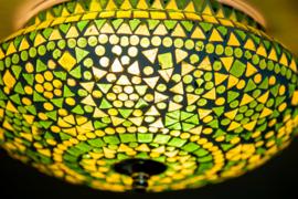 Plafondlamp mozaïek groen - 25  cm.
