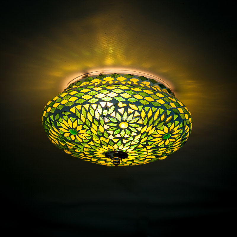 Plafondlamp mozaïek groen 25 cm. Turks