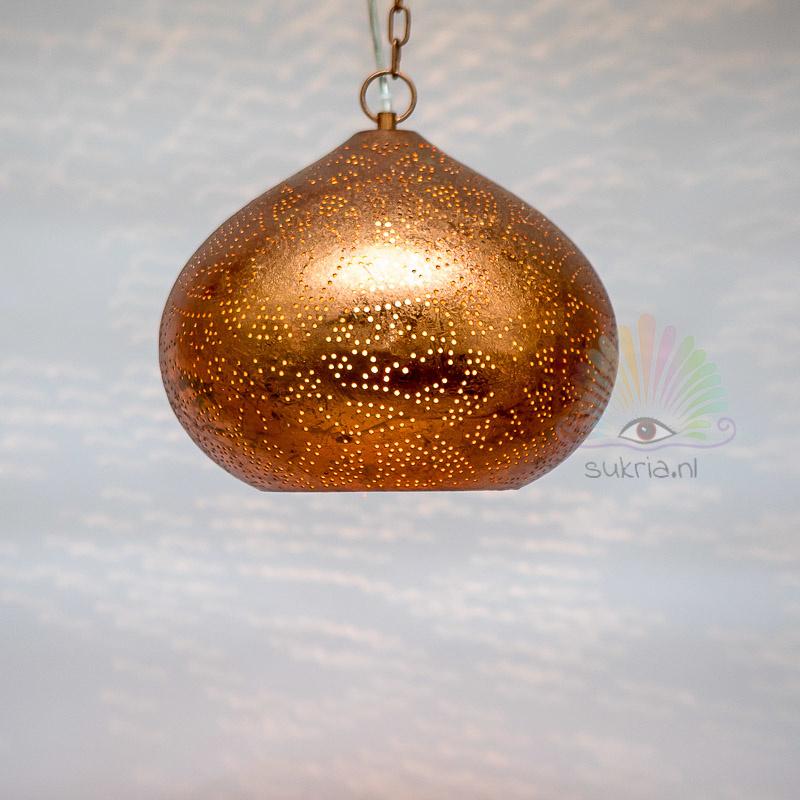 Oosterse filigrain hanglamp Morada vintage koper.