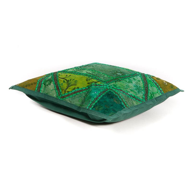 Patchwork sierkussen groen tinten