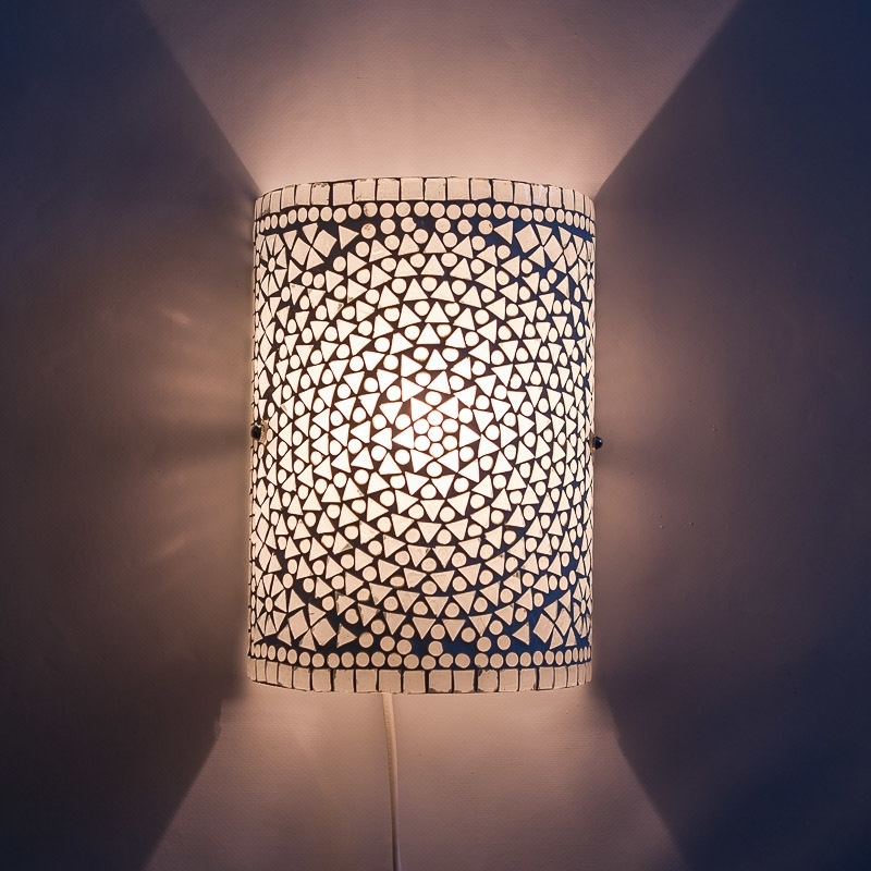 Oosterse mozaïek wandlamp | cilinder | transparant