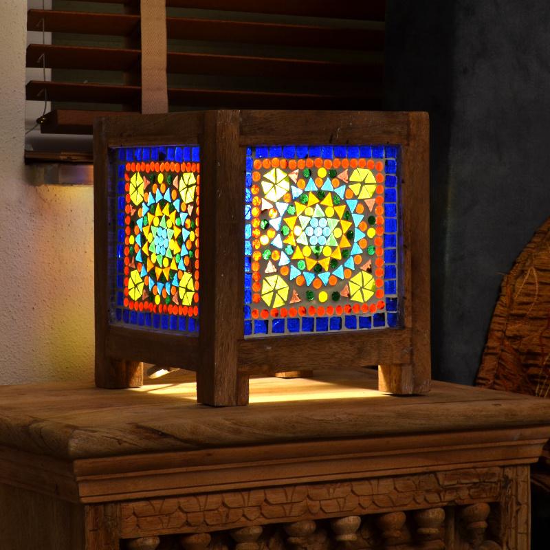 Oosters nachtkastlampje square - multi color