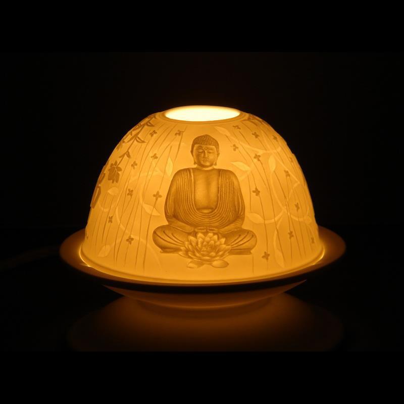 Waxinehouder Boeddha met oplichtend effect.