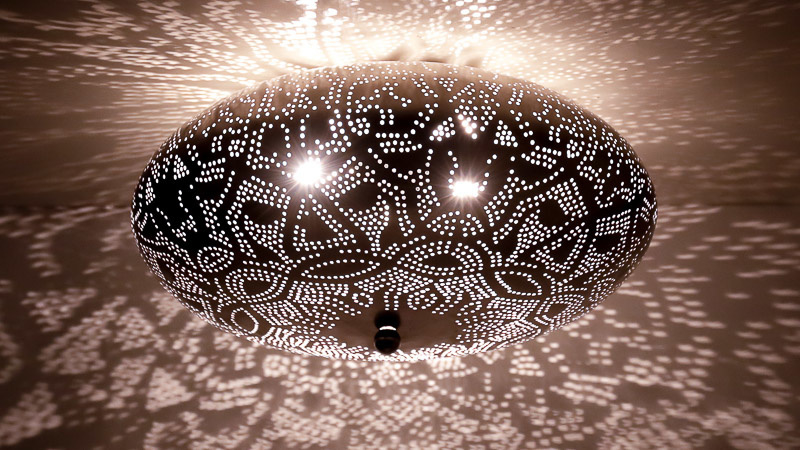 Plafondlamp filigrain zilver - 50 cm.