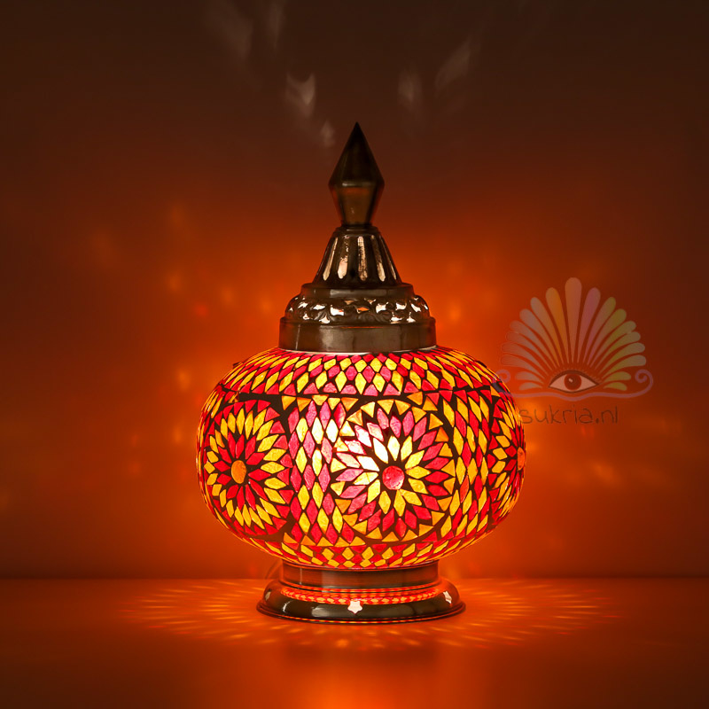 Oosterse mozaïek tafellamp pumpkin - rood oranje